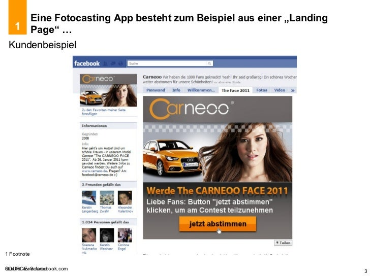 """Eine Fotocasting App besteht zum Beispiel aus einer """"Landing Page"""" … Kundenbeispiel Quelle: www.facebook.com 1"""