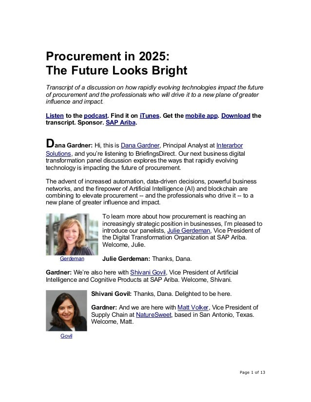 Page 1 of 13 Procurement in 2025: The Future Looks Bright Transcript of a discussion on how rapidly evolving technologies ...