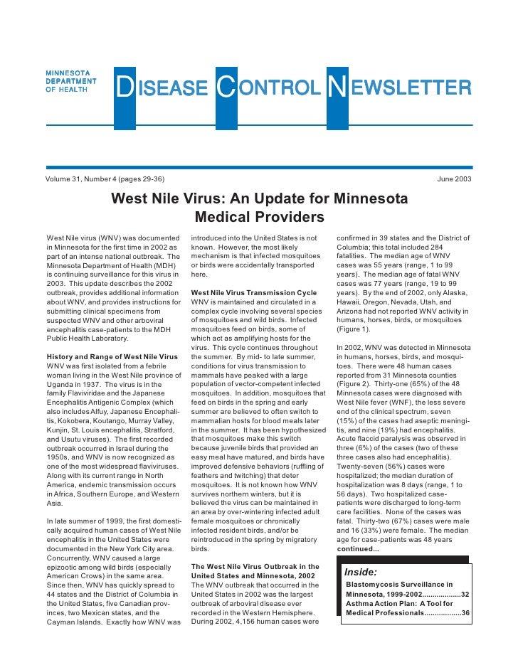 MINNESOTA DEPARTMENT OF HEALTH                       D ISEASE C ONTROL N EWSLETTER  Volume 31, Number 4 (pages 29-36)     ...