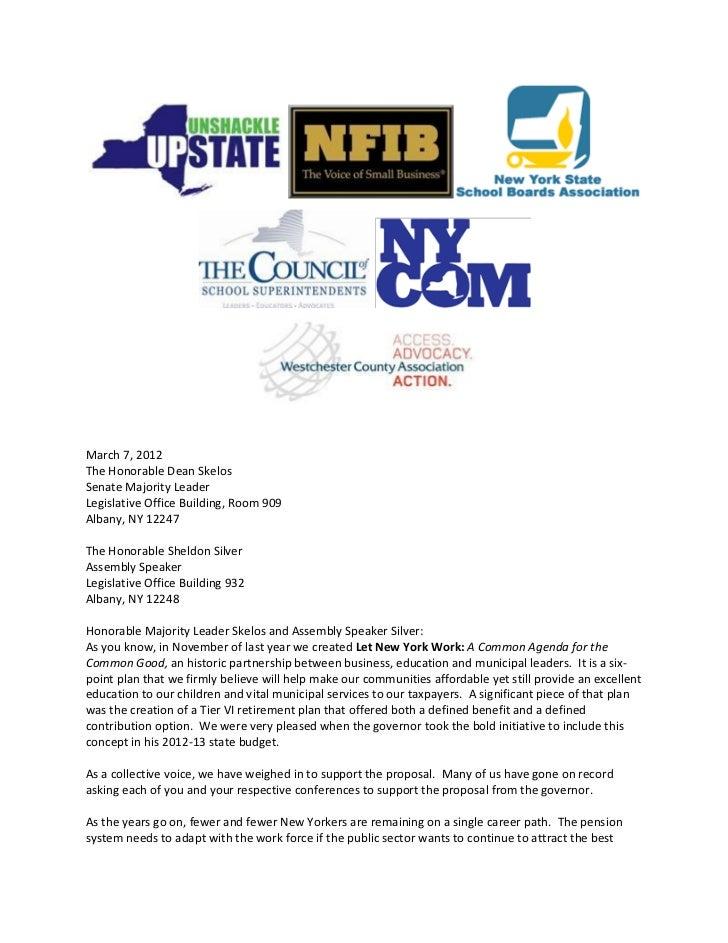 March 7, 2012The Honorable Dean SkelosSenate Majority LeaderLegislative Office Building, Room 909Albany, NY 12247The Honor...