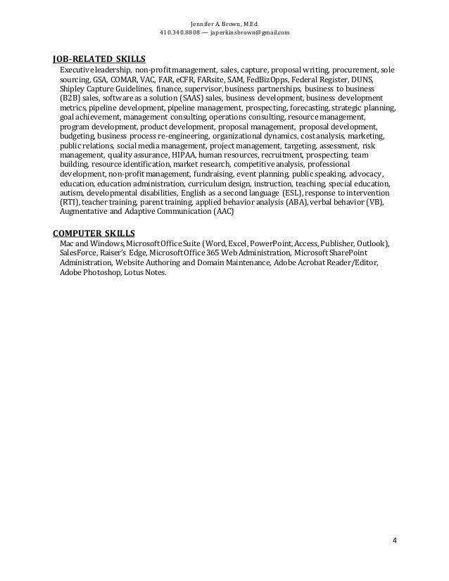 Jennifer A. Brown, M.Ed. 410.340.8808 — japerkinsbrown@gmail.com 4 JOB-RELATED SKILLS Executiveleadership, non-profitmanag...