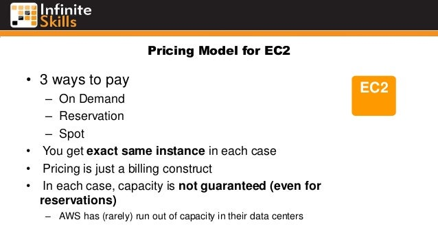 Pricing Model for EC2 • 3 ways to pay – On Demand – Reservation – Spot • You get exact same instance in each case • Pricin...