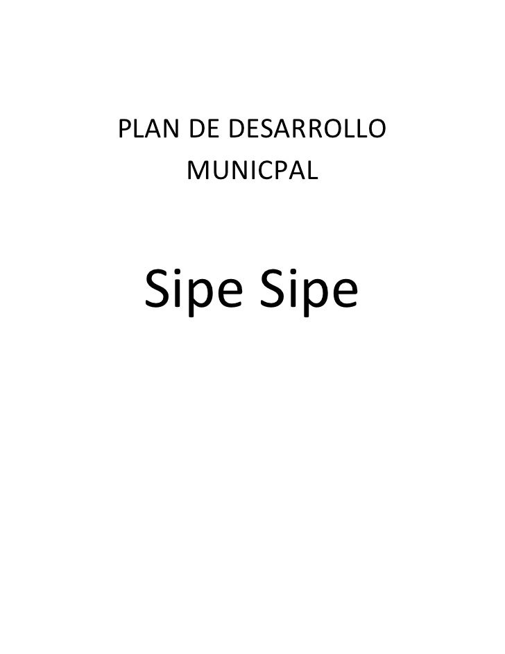 PLAN DE DESARROLLO     MUNICPAL Sipe Sipe