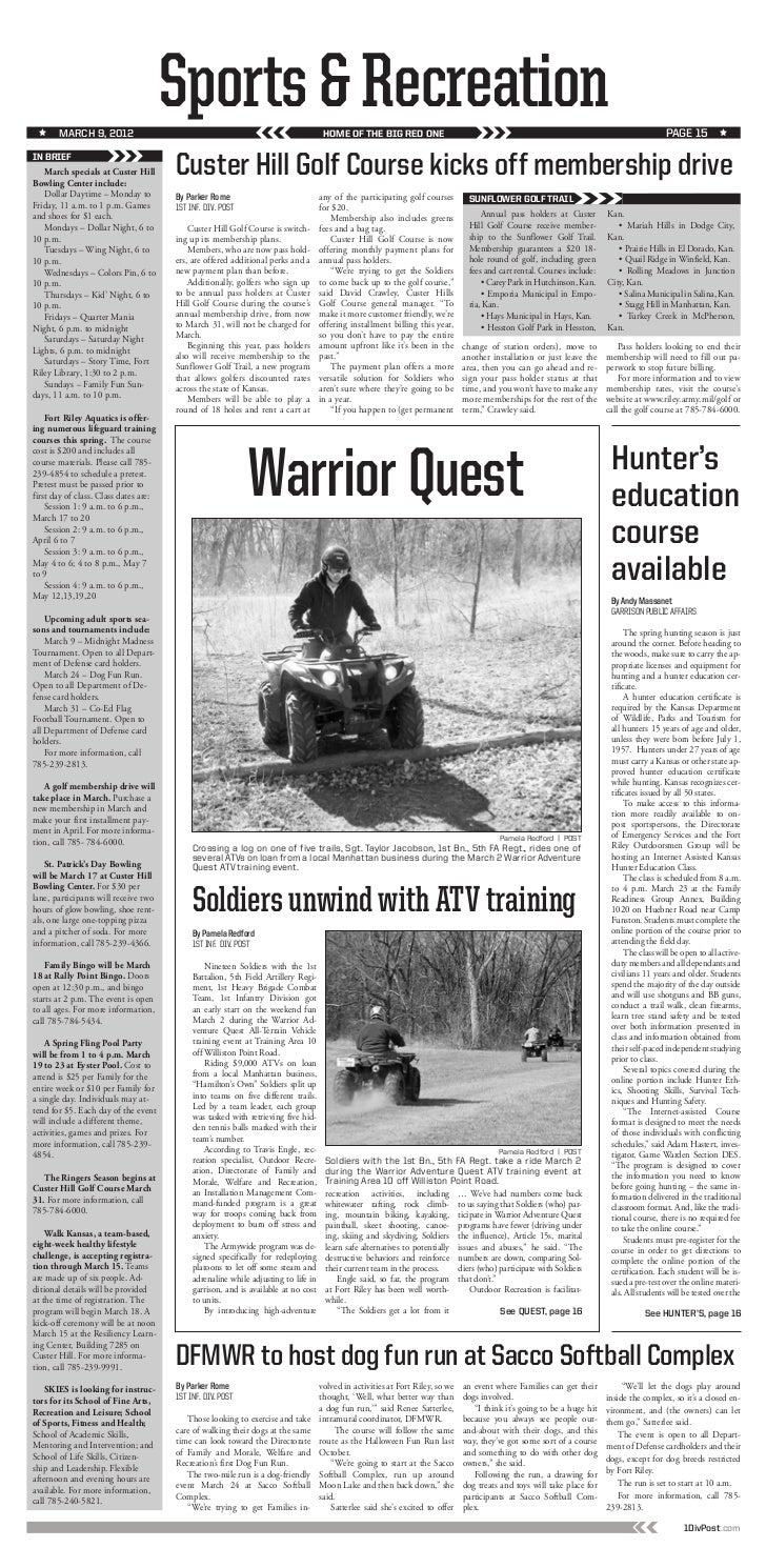 The 1st Infantry Division Post 9 March Newsletter