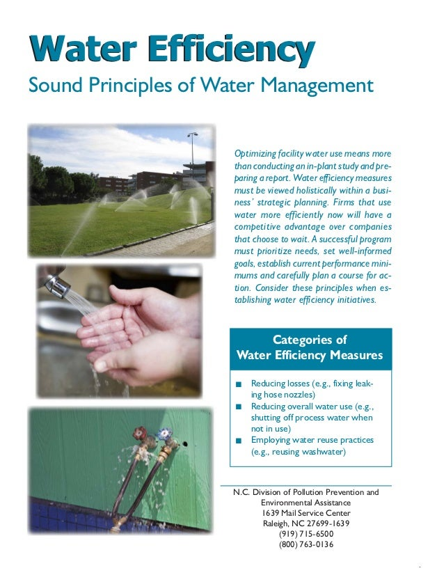 Water EfficiencySound Principles of Water Management                                  Optimizing facility water use means ...