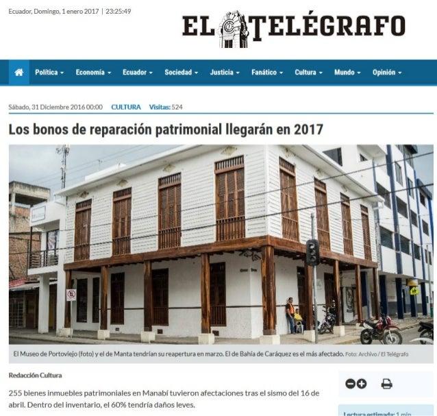 BONOS PATRIMONIALES PARA MANABI LLEGARA EN 2017