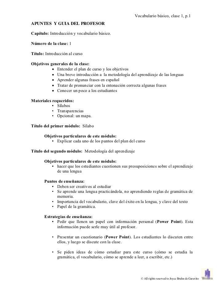 Vocabulario básico, clase 1, p.1APUNTES Y GUIA DEL PROFESORCapítulo: Introducción y vocabulario básico.Número de la clase:...