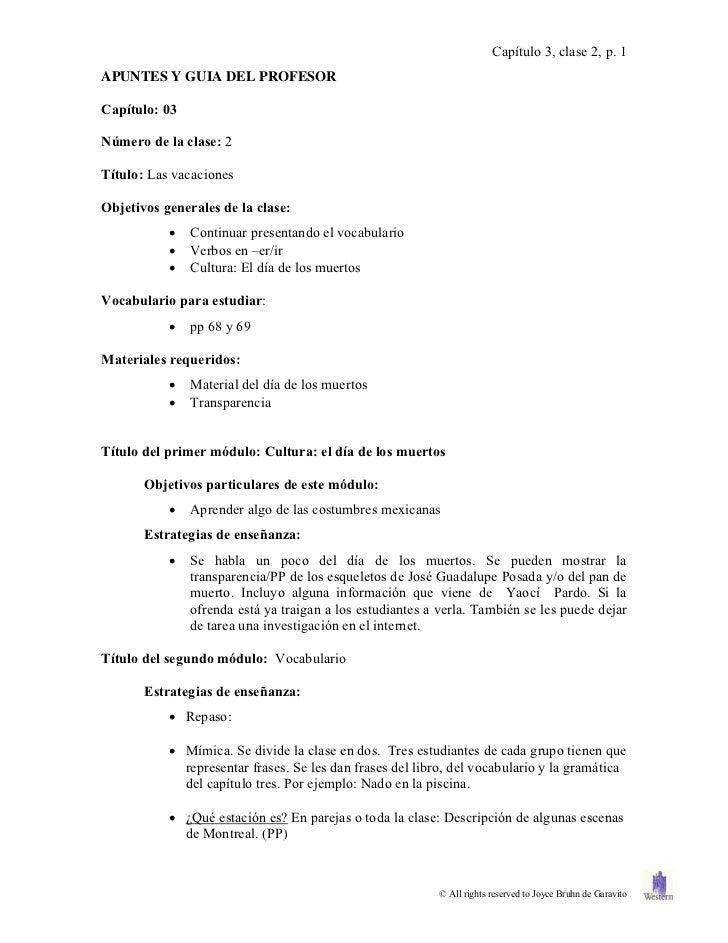 Capítulo 3, clase 2, p. 1APUNTES Y GUIA DEL PROFESORCapítulo: 03Número de la clase: 2Título: Las vacacionesObjetivos gener...