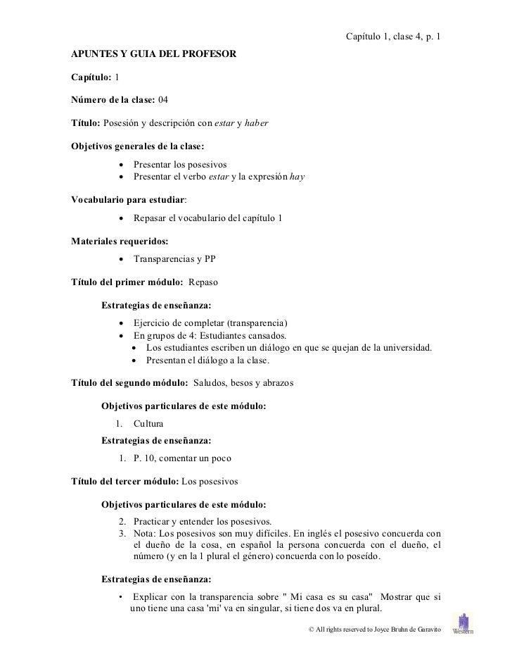 Capítulo 1, clase 4, p. 1APUNTES Y GUIA DEL PROFESORCapítulo: 1Número de la clase: 04Título: Posesión y descripción con es...