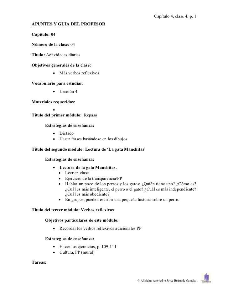 Capítulo 4, clase 4, p. 1APUNTES Y GUIA DEL PROFESORCapítulo: 04Número de la clase: 04Título: Actividades diariasObjetivos...