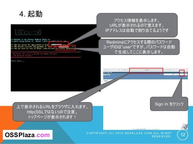 4. 起動 C O P Y R I G H T ( C ) 2 0 1 9 O S S P L A Z A . C O M A L L R I G H T R E S E R V E D . 12 アクセス情報を表示します。 URLが表示される...