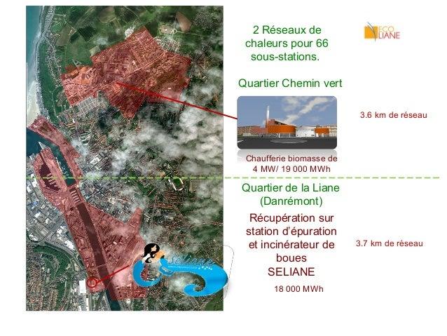 2 Réseaux de  chaleurs pour 66  sous-stations.  Quartier Chemin vert  3.6 km de réseau  Chaufferie biomasse de  4 MW/ 19 0...