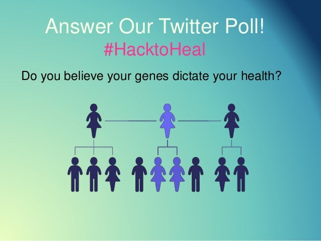 Answer Our Twitter Poll! #HacktoHeal Do you believe your genes dictate your health?
