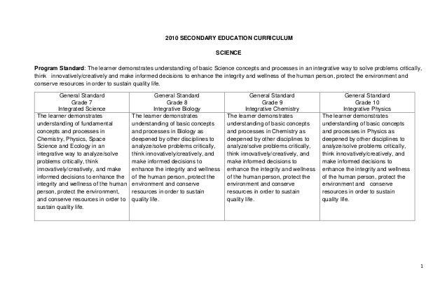2010 SECONDARY EDUCATION CURRICULUM                                                                      SCIENCEProgram St...