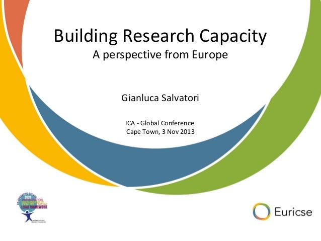 Building Research Capacity A perspective from Europe Gianluca Salvatori ICA - Global Conference Cape Town, 3 Nov 2013