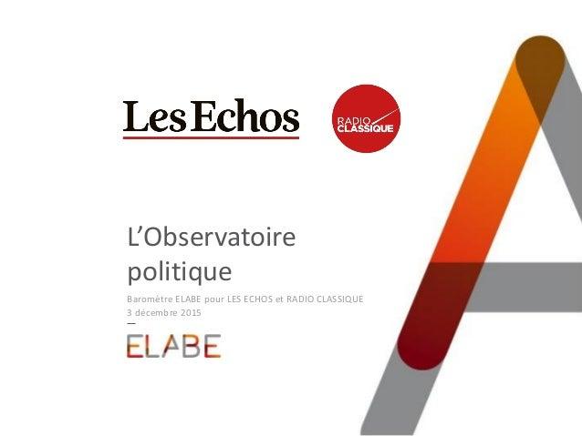 L'Observatoire politique Baromètre ELABE pour LES ECHOS et RADIO CLASSIQUE 3 décembre 2015