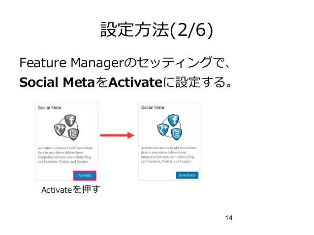 14 設定方法(2/6) Feature Managerのセッティングで、 Social MetaをActivateに設定する。 Activateを押す