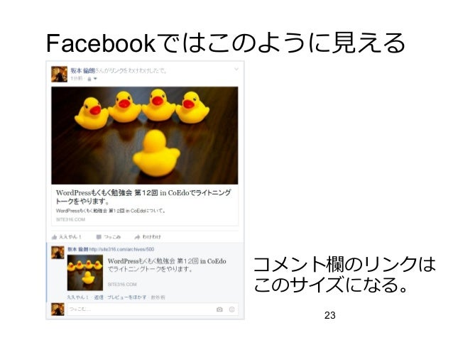 23 Facebookではこのように見える コメント欄のリンクは このサイズになる。