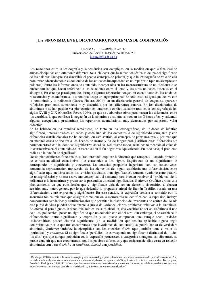 LA SINONIMIA EN EL DICCIONARIO. PROBLEMAS DE CODIFICACIÓN                                          JUAN MANUEL GARCÍA PLAT...