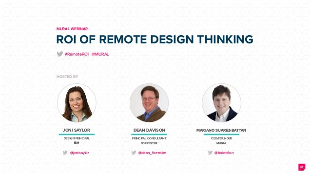ROI OF REMOTE DESIGN THINKING MURAL WEBINAR HOSTED BY JONI SAYLOR DESIGN PRINCIPAL IBM @jonisaylor DEAN DAVISON PRINCIPAL ...