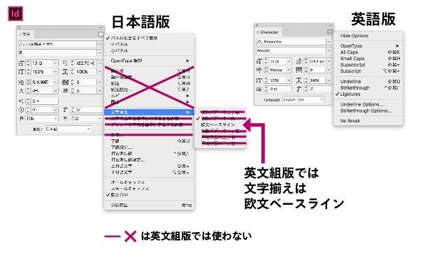 日本語版 英文組版では 文字揃えは 欧文ベースライン 英語版Id は英文組版では使わない