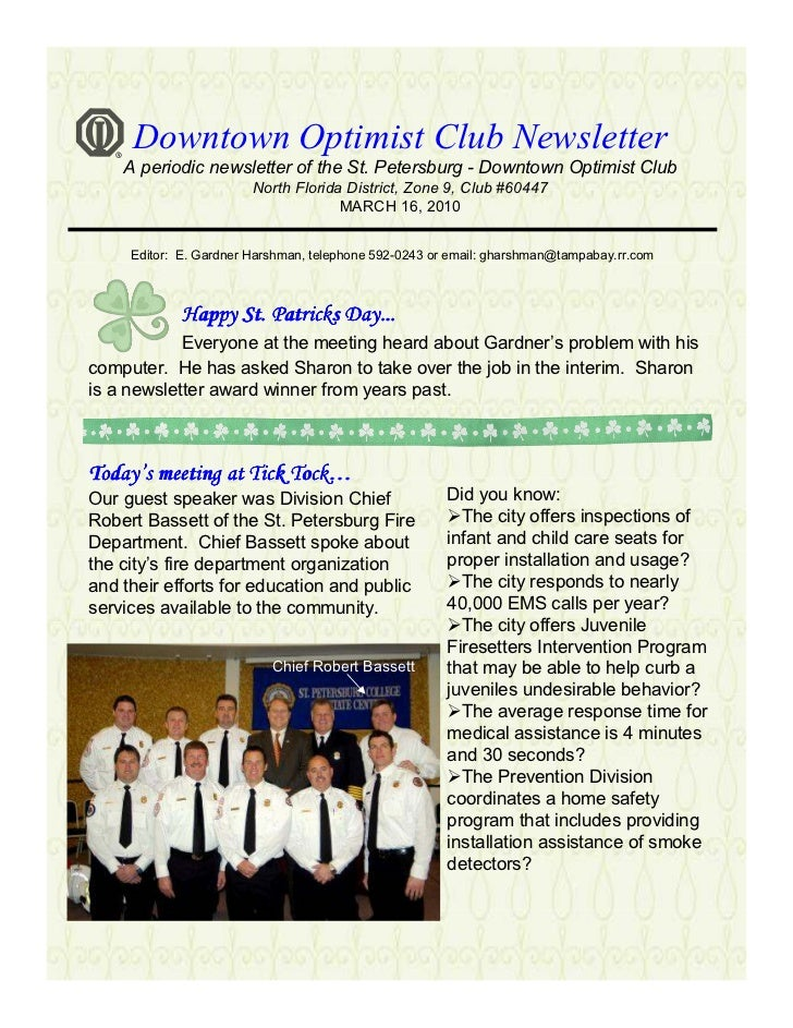 Downtown Optimist Club Newsletter     A periodic newsletter of the St. Petersburg - Downtown Optimist Club                ...