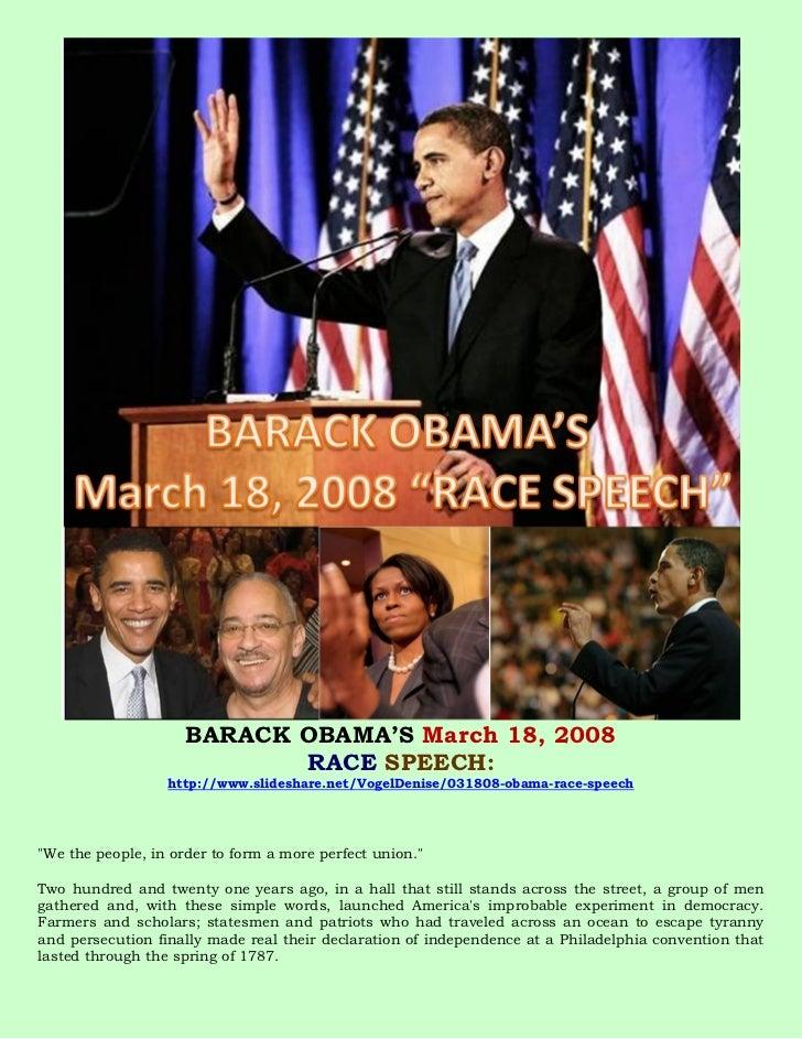 BARACK OBAMA'S March 18, 2008                            RACE SPEECH:                  http://www.slideshare.net/VogelDeni...