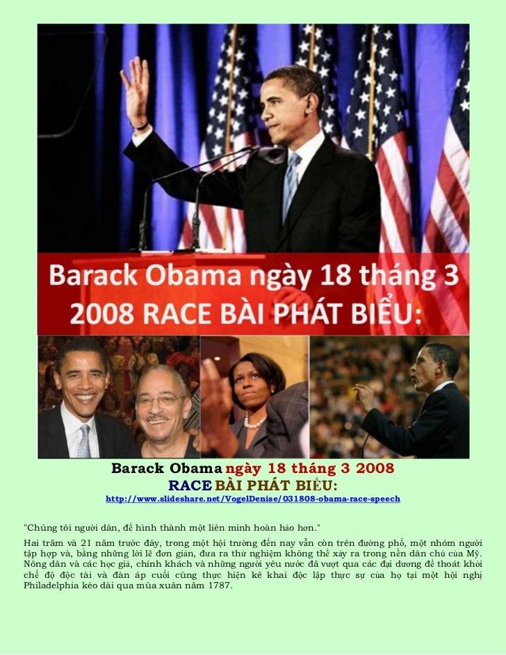 Barack Obama ngày 18 tháng 3 2008                          RACE BÀI PHÁT BIỂU:                 http://www.slideshare.net/V...