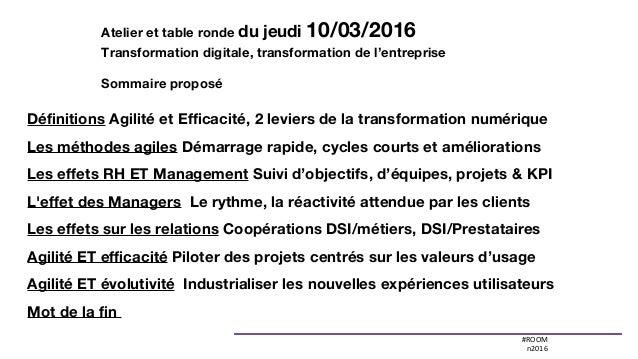 #ROOM n2016 Définitions Agilité et Efficacité, 2 leviers de la transformation numérique Les méthodes agiles Démarrage rap...
