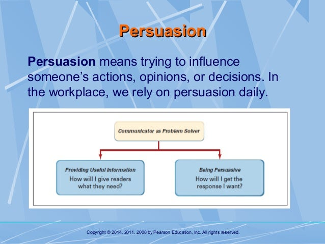 persuading your audience Audience strategy for all professional business communication  your objective is to inform, to persuade, or to change your audience, all the while helping them be in control of the decision, results, or problem-solution.