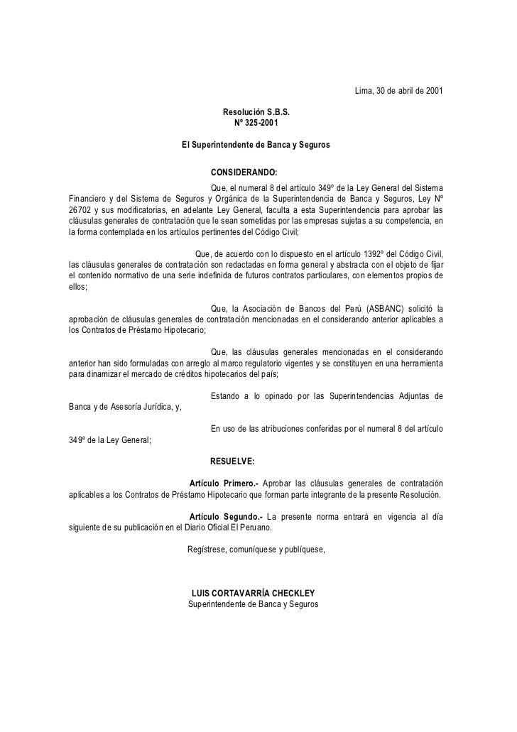 Lima, 30 de abril de 2001                                             Resolución S.B.S.                                   ...