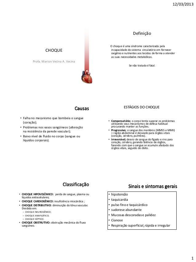 12/03/2013 1 CHOQUE Profa. Marion Vecina A. Vecina Definição O choque é uma síndrome caracterizada pela incapacidade do si...