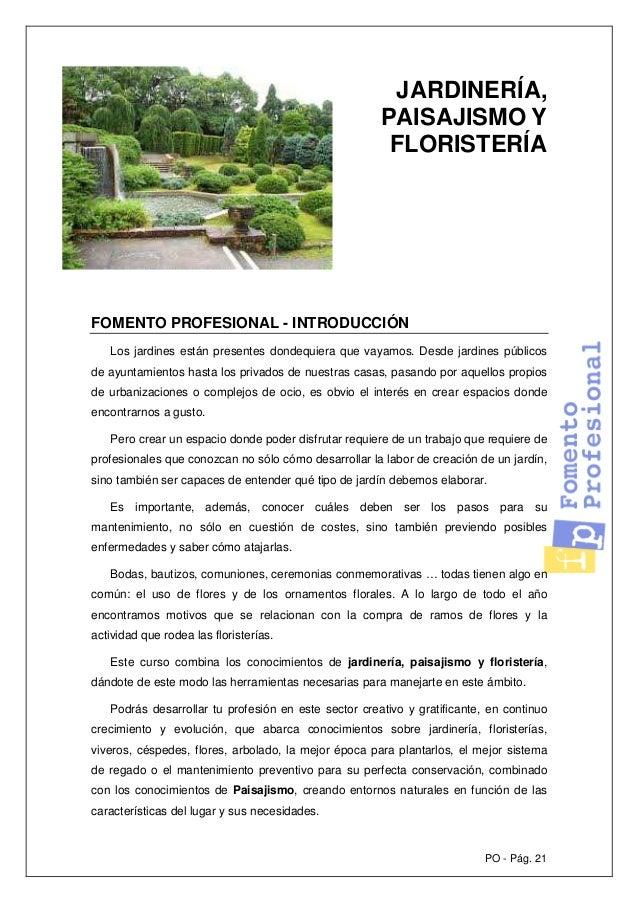 po pg jardinera paisajismo y floristera fomento profesional introduccin los jardines