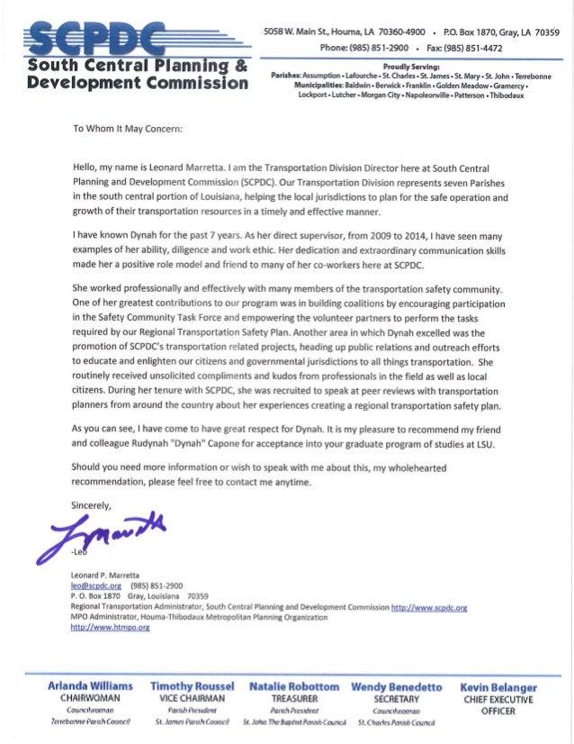 Grad School Recommendation Letter