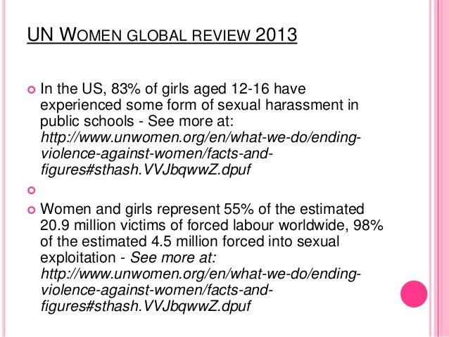 UN WOMEN GLOBAL REVIEW 2013  In the US, 83% of girls aged 12-16 have experienced some form of sexual harassment in public...