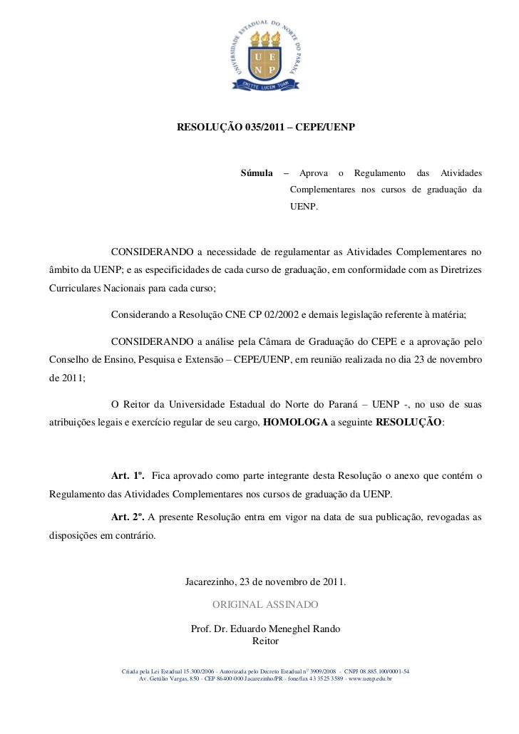RESOLUÇÃO 035/2011 – CEPE/UENP                                                             Súmula          –     Aprova   ...