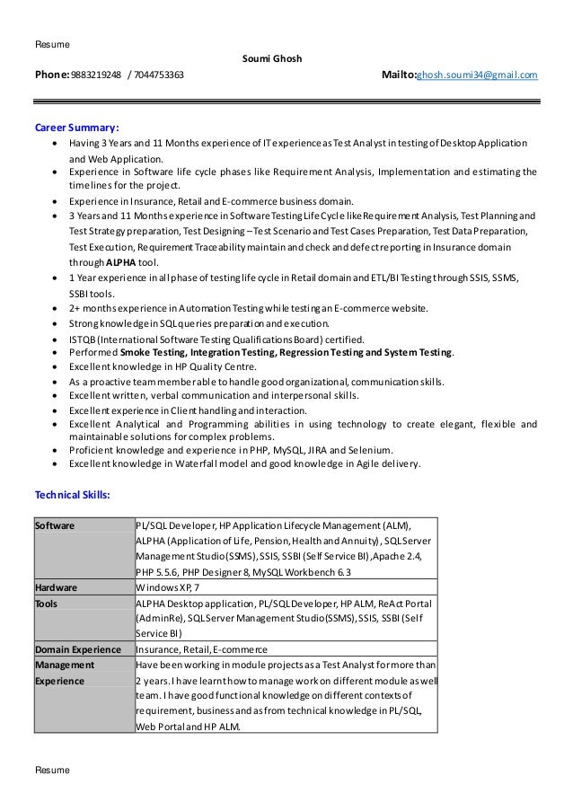 Resume Resume Soumi Ghosh Phone:9883219248 / 7044753363 Mailto:ghosh.soumi34@gmail.com Career Summary:  Having3 Yearsand ...