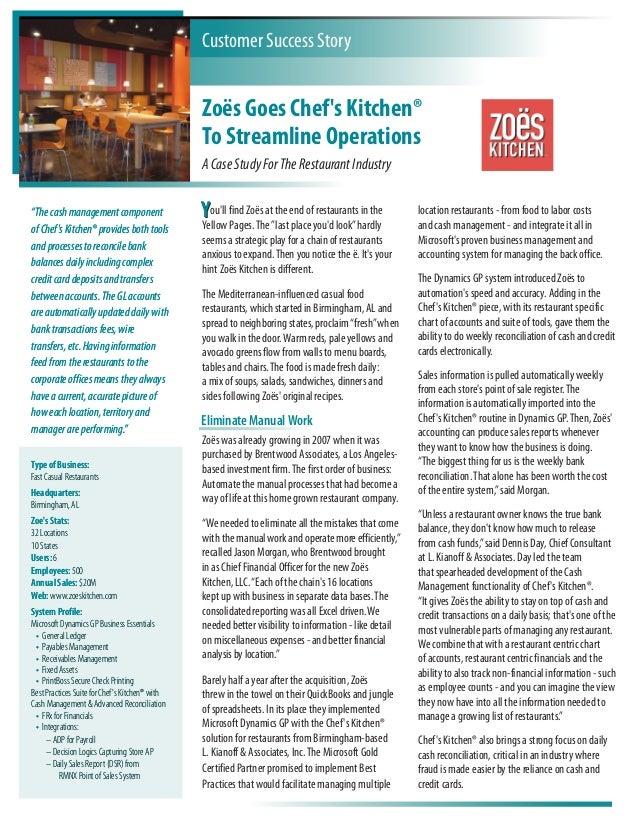 Kianoff\'s Zoes Kitchen Case Study