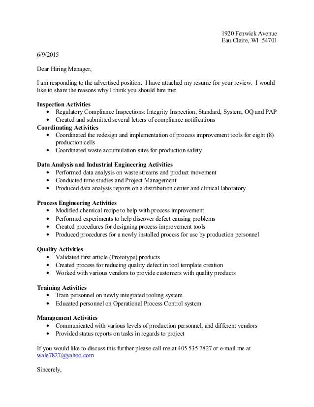 Mechanical Engineer Cover Letter New Grad Entry Level