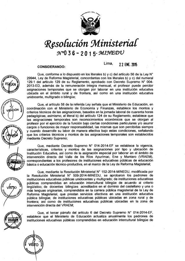 RM Nº 036-2015-MINEDU APRUEBAN PADRONES DE INSTITUCIONES EDUCATIVAS PUBLICAS