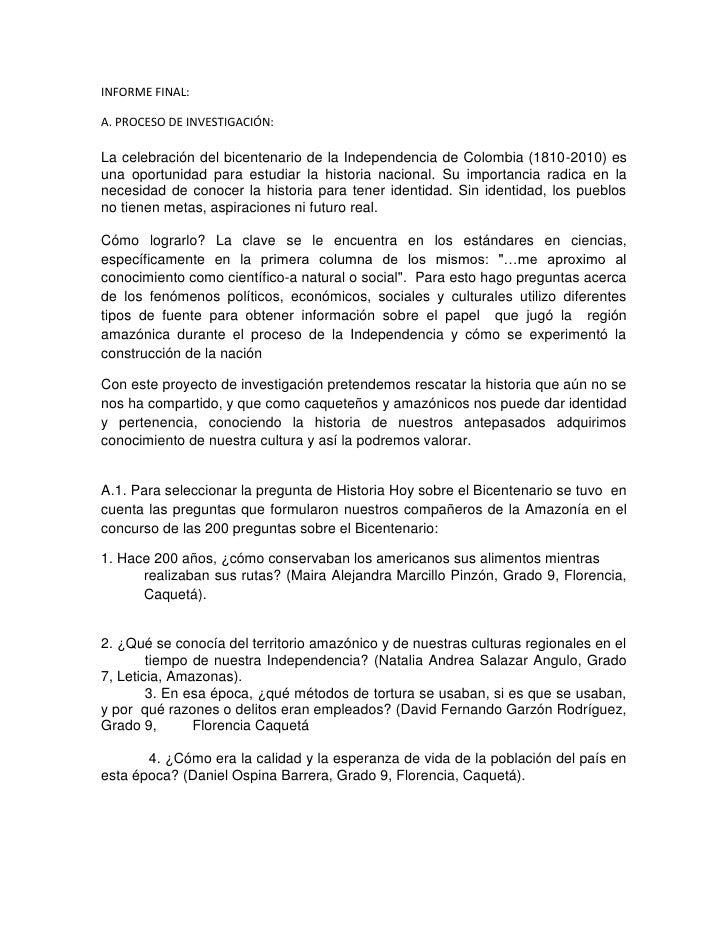 INFORME FINAL:<br />A. PROCESO DE INVESTIGACIÓN:<br />La celebración del bicentenario de la Independencia de Colombia (181...