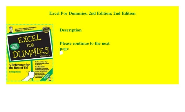 Excel For Dummies, 2nd Edition: 2nd Edition ^^Download_[Epub