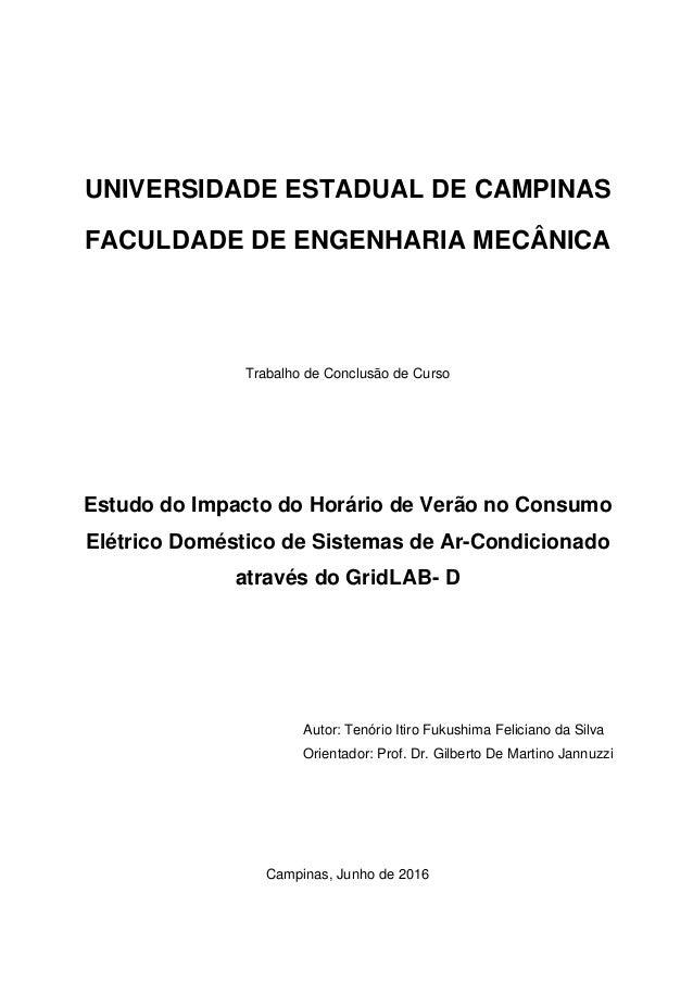 UNIVERSIDADE ESTADUAL DE CAMPINAS FACULDADE DE ENGENHARIA MECÂNICA Trabalho de Conclusão de Curso Estudo do Impacto do Hor...