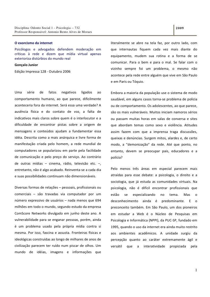 Disciplina: Odonto Social 1 – Psicologia -- 732                                                            2009 Professor ...