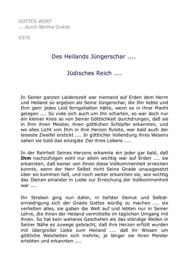GOTTES WORT ... durch Bertha Dudde 0370 Des Heilands Jüngerschar .... Jüdisches Reich .... In Seiner ganzen Leidenszeit wa...
