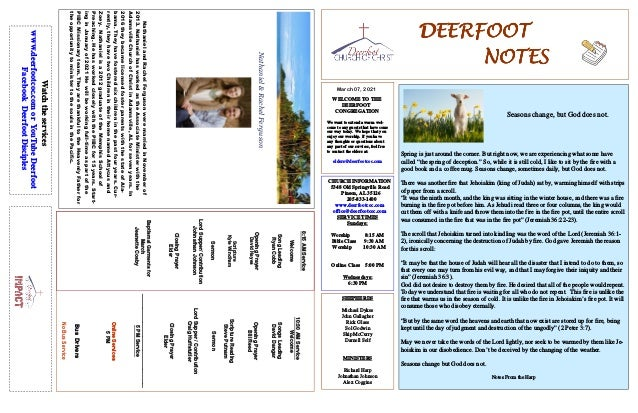 DEERFOOT DEERFOOT DEERFOOT DEERFOOT NOTES NOTES NOTES NOTES March 07, 2021 WELCOME TO THE DEERFOOT CONGREGATION We want to...