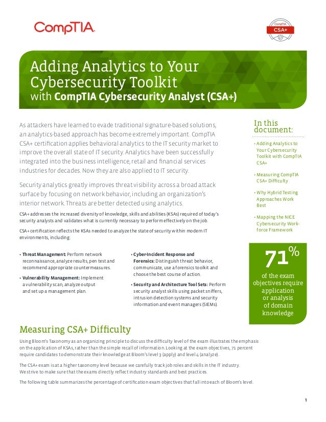 Adding Analytics To Your Cybersecurity Toolkit With Comptia Cybersecu