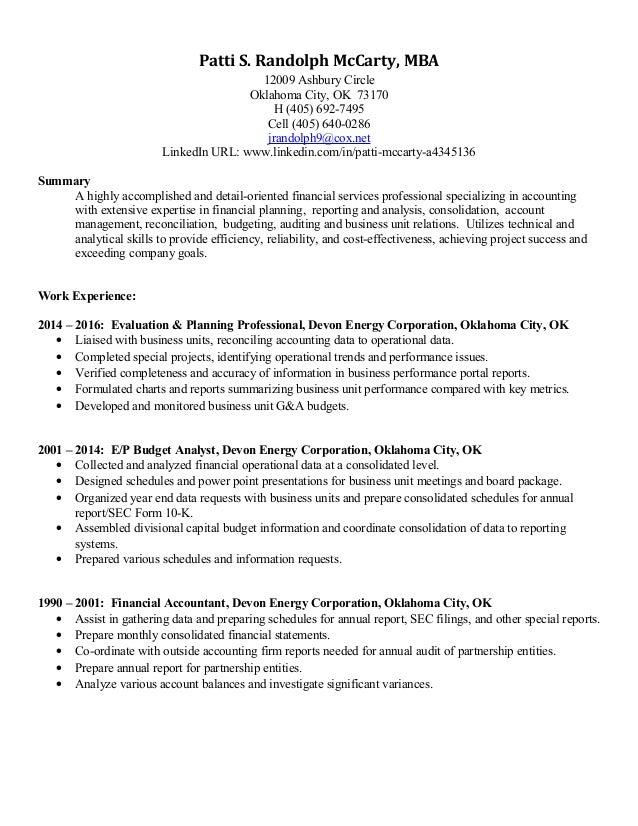Resume Patti Randolph McCarty Mar 12 2016