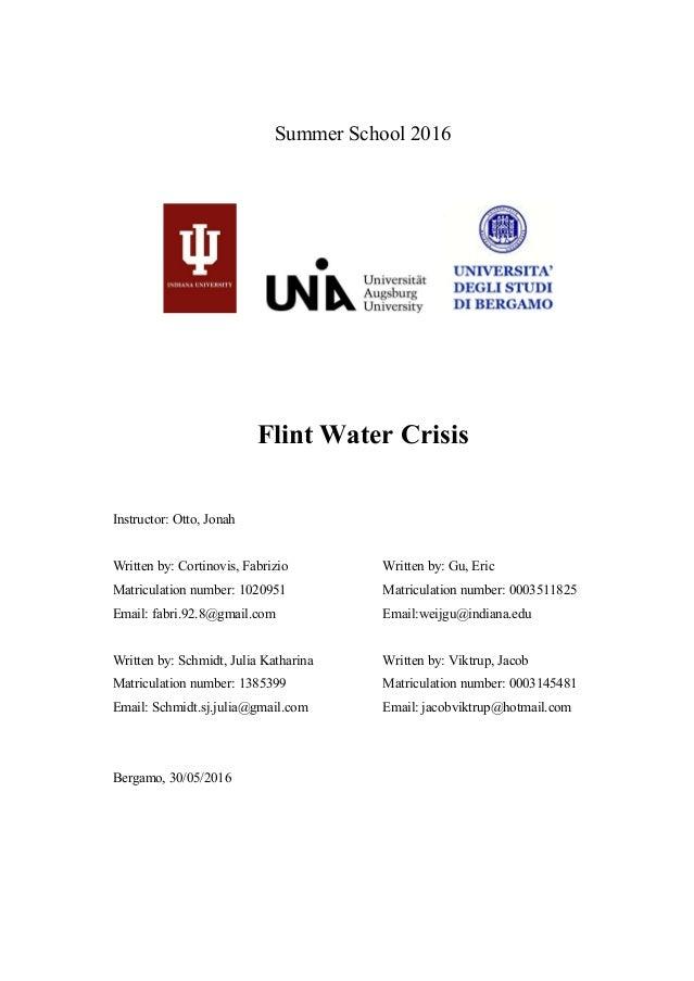Summer School 2016 Flint Water Crisis Instructor: Otto, Jonah Written by: Cortinovis, Fabrizio Matriculation number: 10209...