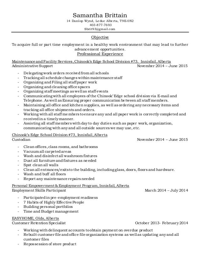 Samantha Brittain Resume 2015 Shipping and Receiving